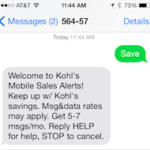Kohls sign-up text message