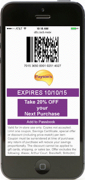 one-time-use mobile coupon