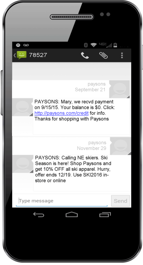 text message marketing message