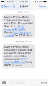 Macy's mobile coupon promotions 1