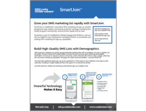 Product Sheet: SMS Marketing List Sign-Up with SmartJoin